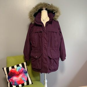 Columbia Hooded Parka Jacket Black Cherry D4